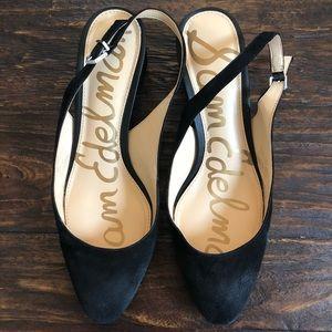 Sam Edelman Lorene Black Suede Block Heel Shoe, 8M